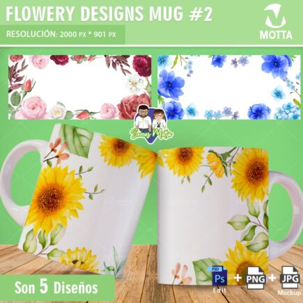 MUG SUBLIMATION TEMPLATE FLORAR