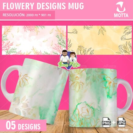 FLORAL MUG SUBLIMATION DESIGNS