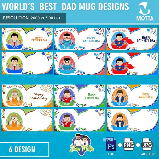 MUG SUBLIMATION TEMPLATE WORLD'S BEST DAD