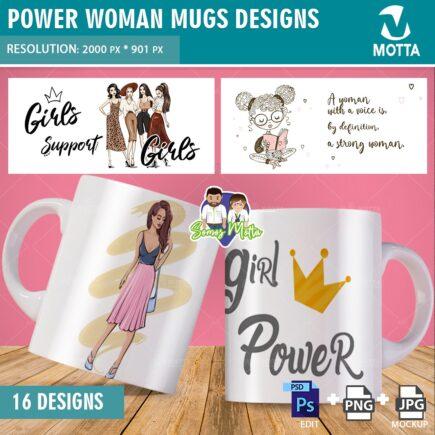 POWER WOMAN MUGS TEMPLATES SUBLIMATION