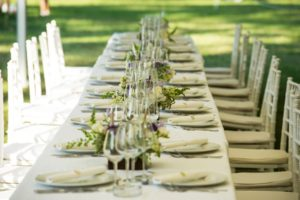 Luxury wedding lunch table setting outdoors