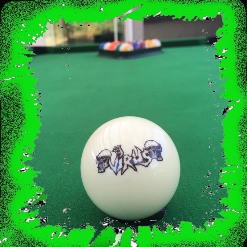 VIRUS UK Thrash Logo Cue Ball