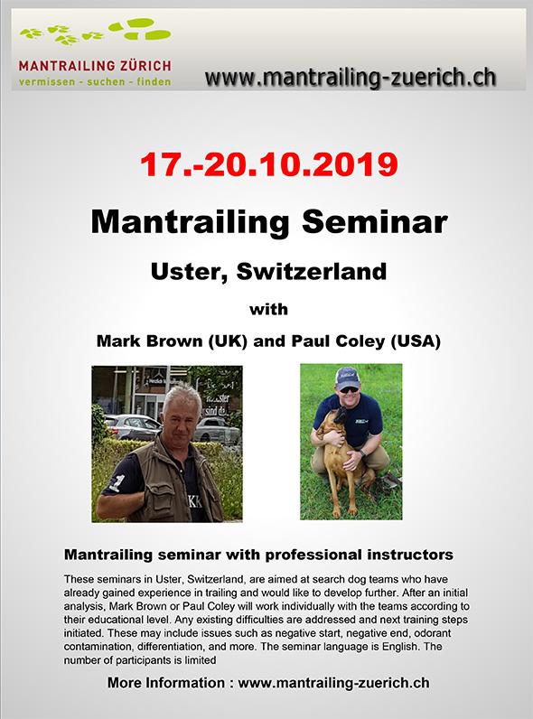 Zurich Mantrailing Seminar Oktober 2019