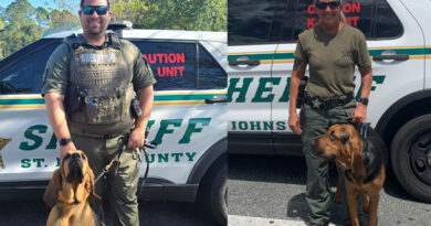 St. Johns County Sheriff's Office Bloodhound Teams Find Missing Adult with Autism and Confirm Suspect Trail