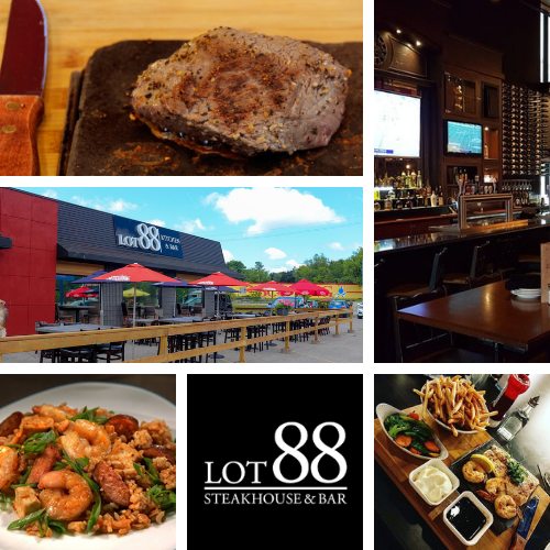 Lot 88 Steakhouse and Bar   Patio, Bar, food and logo