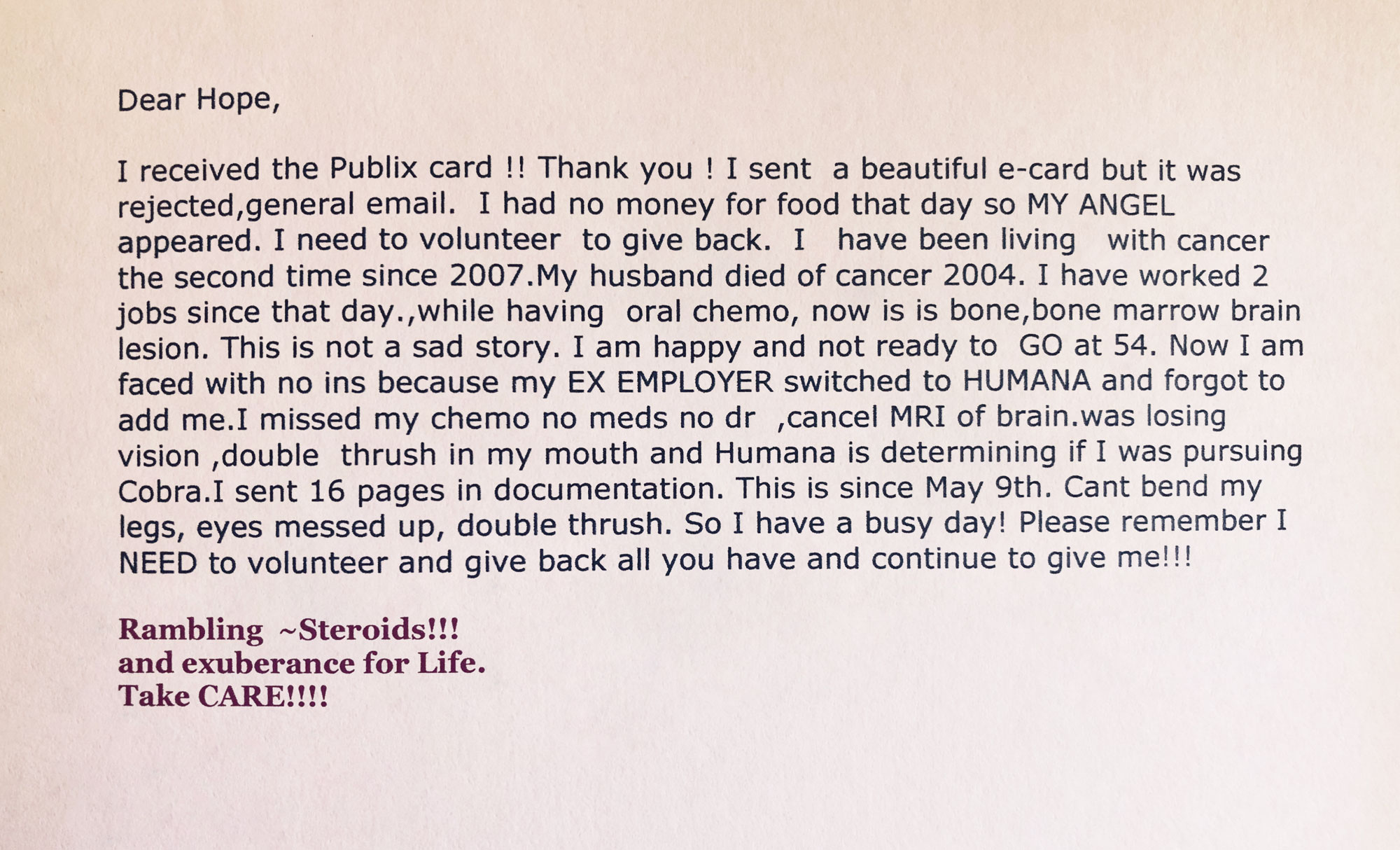 Testimonial - For The Gift of Hope Breast Cancer Foundation