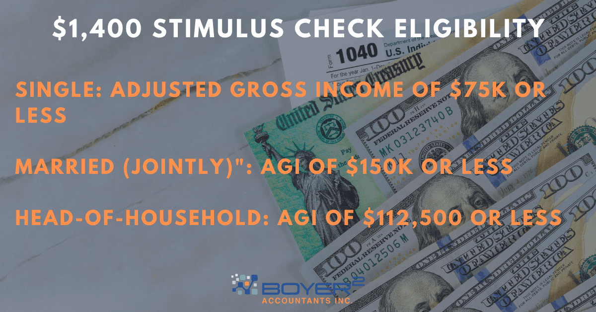 """Text reads """"$1,400 stimulus check eligibility"""""""
