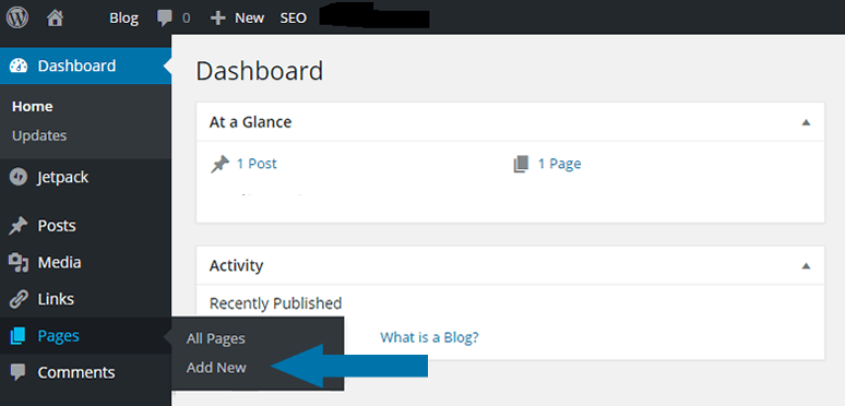 Create a new page from the left sidebar menu.