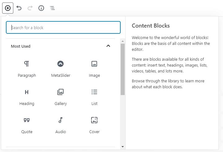 Content blocks pop-up menu for adding content.