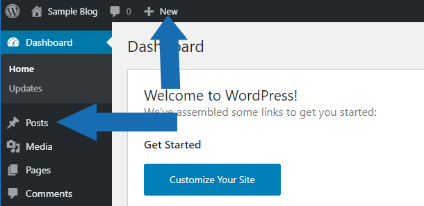 Arrows in the image point to creating a  new post from the WordPress vertical and horizontal menus.