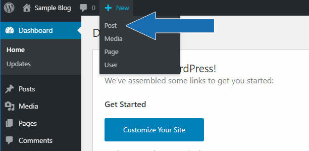 Arrows in the image point to creating a new post from the WordPress horizontal menu.