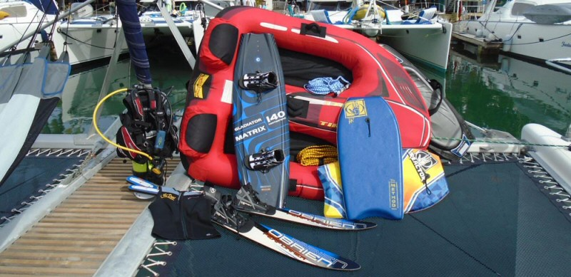Water-sports toys on boats
