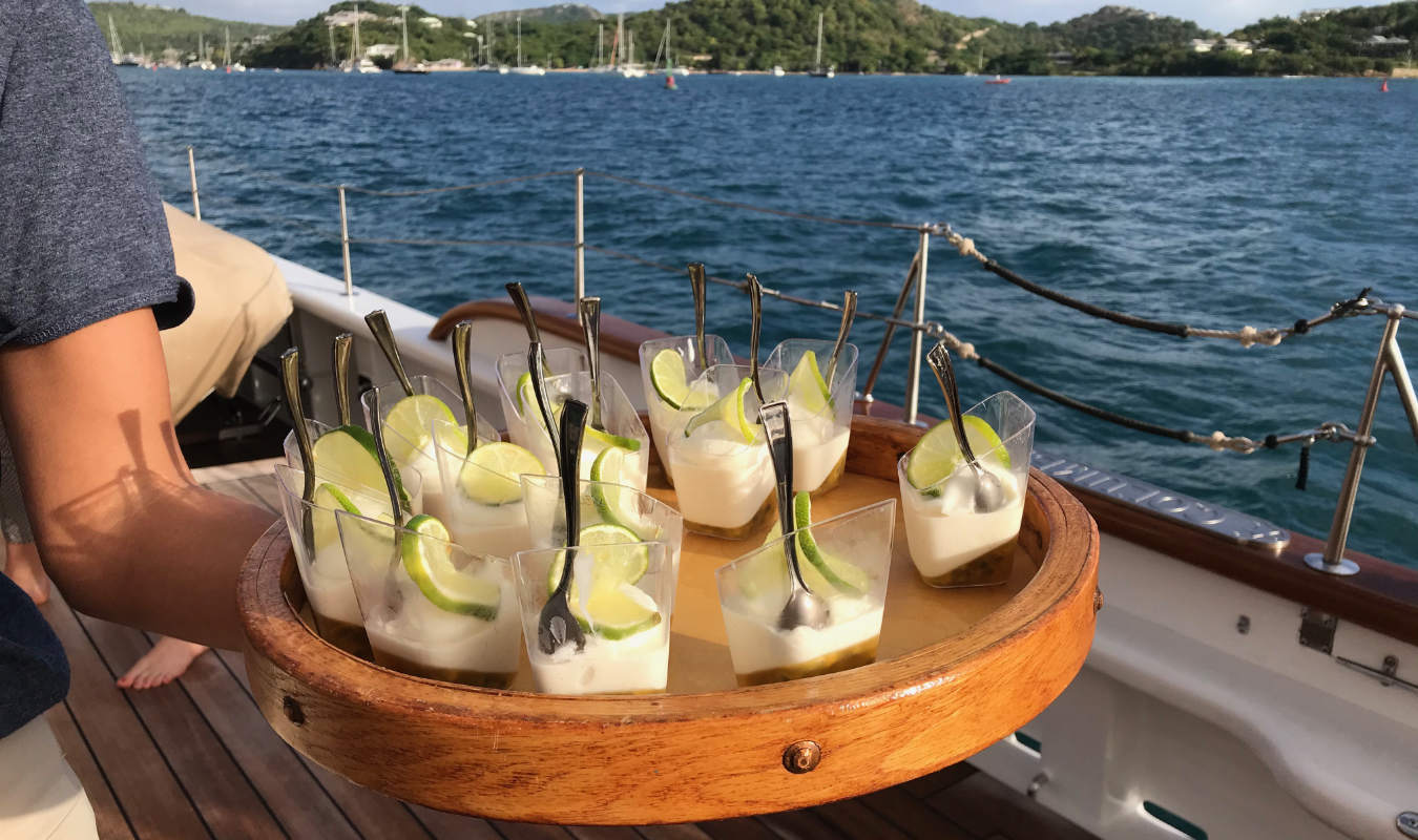 afternoon snacks on a yacht
