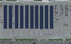 ariel view of Keesler air force base solar carport rendering