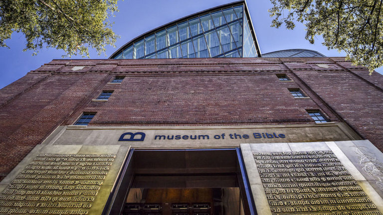 WASHINGTON, DC - NOVEMBER 17: A view of the exterior at the Museum of the Bible's invitation only grand opening on November, 17, 2017 in Washington, DC. (Photo by Bill O'Leary/The Washington Post via Getty Images)