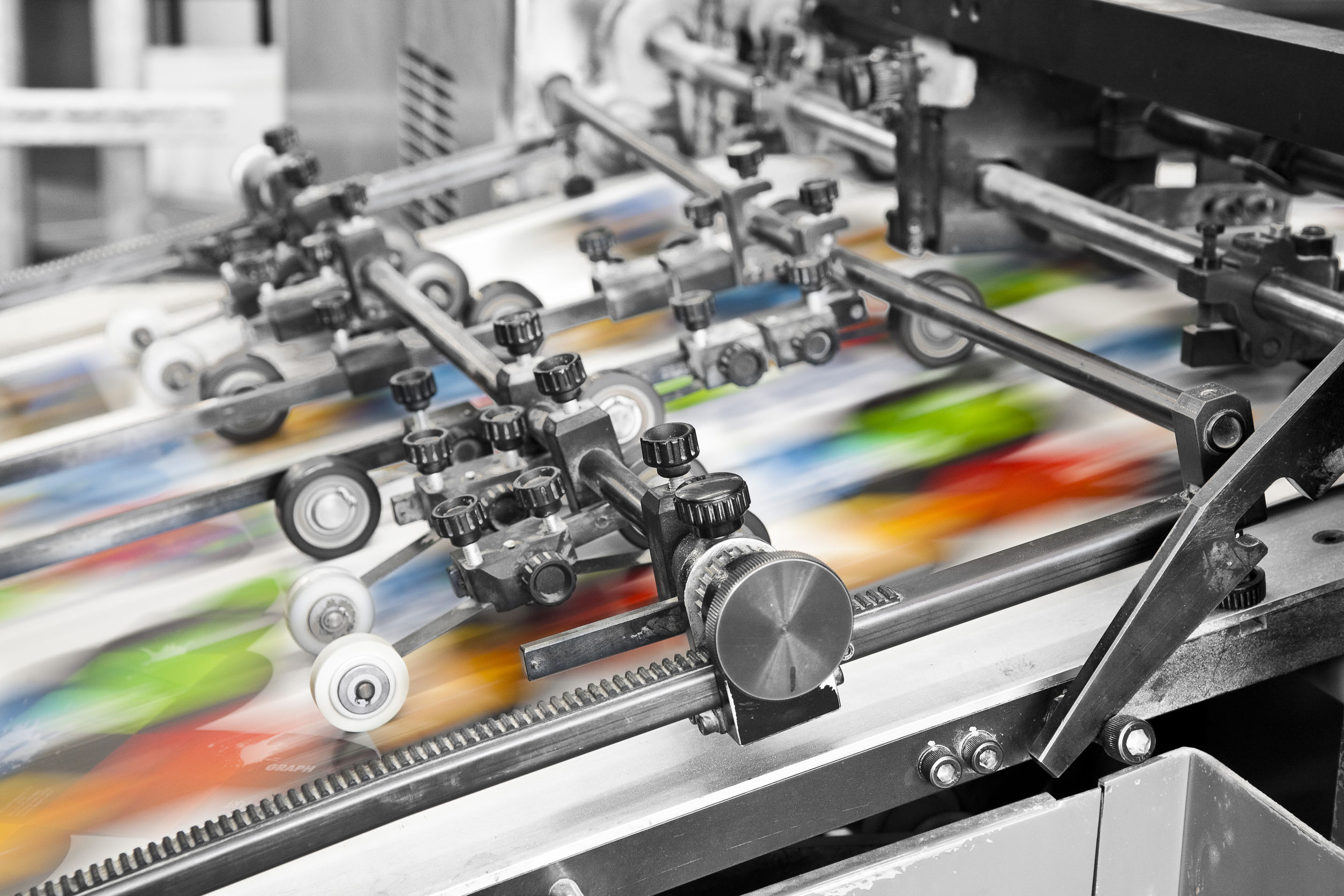 29495154 - close up of an offset printing machine during production