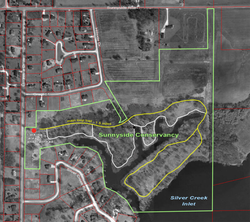 Sunnyside property map with trail 2021