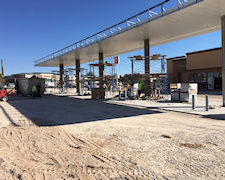 gas station exterior under construction