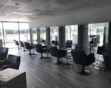 interior of a new salon with chairs
