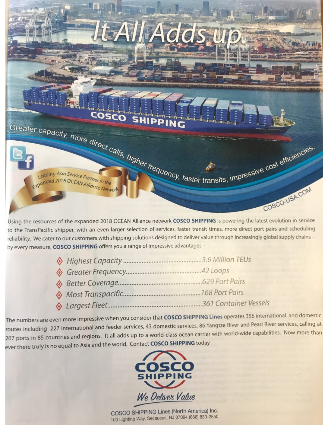 COSCO Shipping of China (and A Top Ten List)