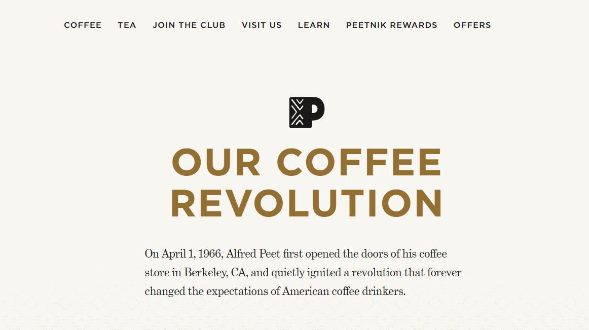 Peet's Coffee Revolution Timeline