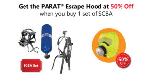 Get Draeger PARAT escape hood at 50% off when you buy 1 set of SCBA.