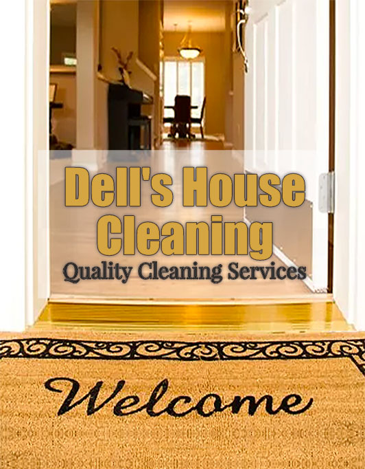 Promotion of business Dells House Cleaning with link to website
