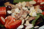 Spring Mix Salad with Grilled Chicken, Strawberries and Blue Cheese