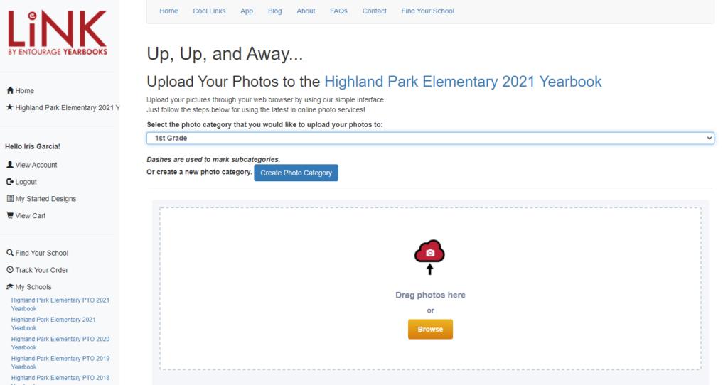 Entourage Link Upload page