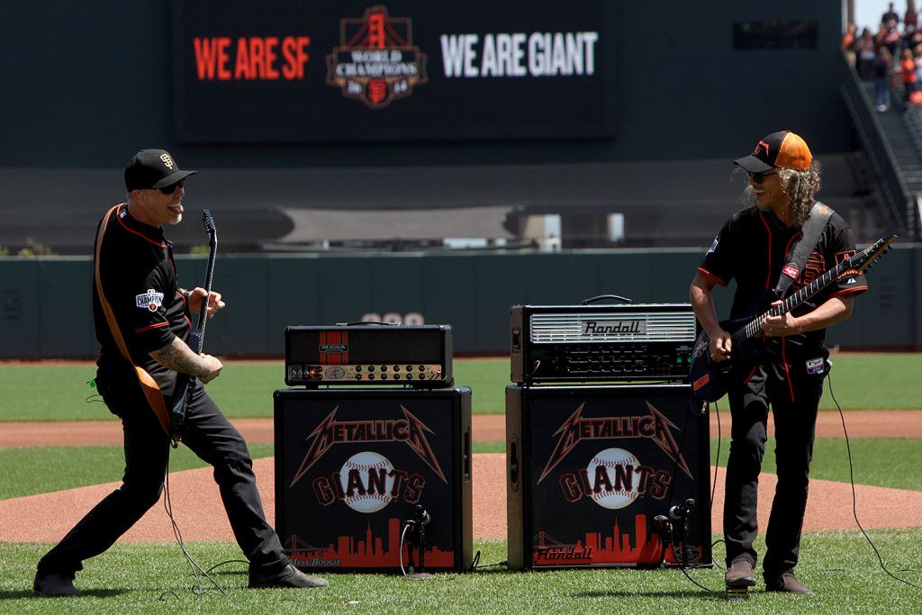 James Hetfield and Kirk Hammett perform the National Anthem AT&T Park on Saturday, May 2, 2015.  (Photo by Scot Tucker/SFBay)