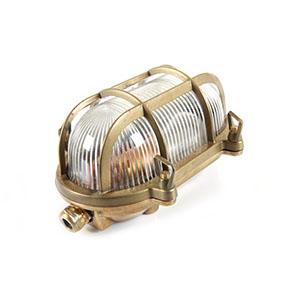 Natural Brass Bulk Head Wall Light Fixture ≤9W LED Antique