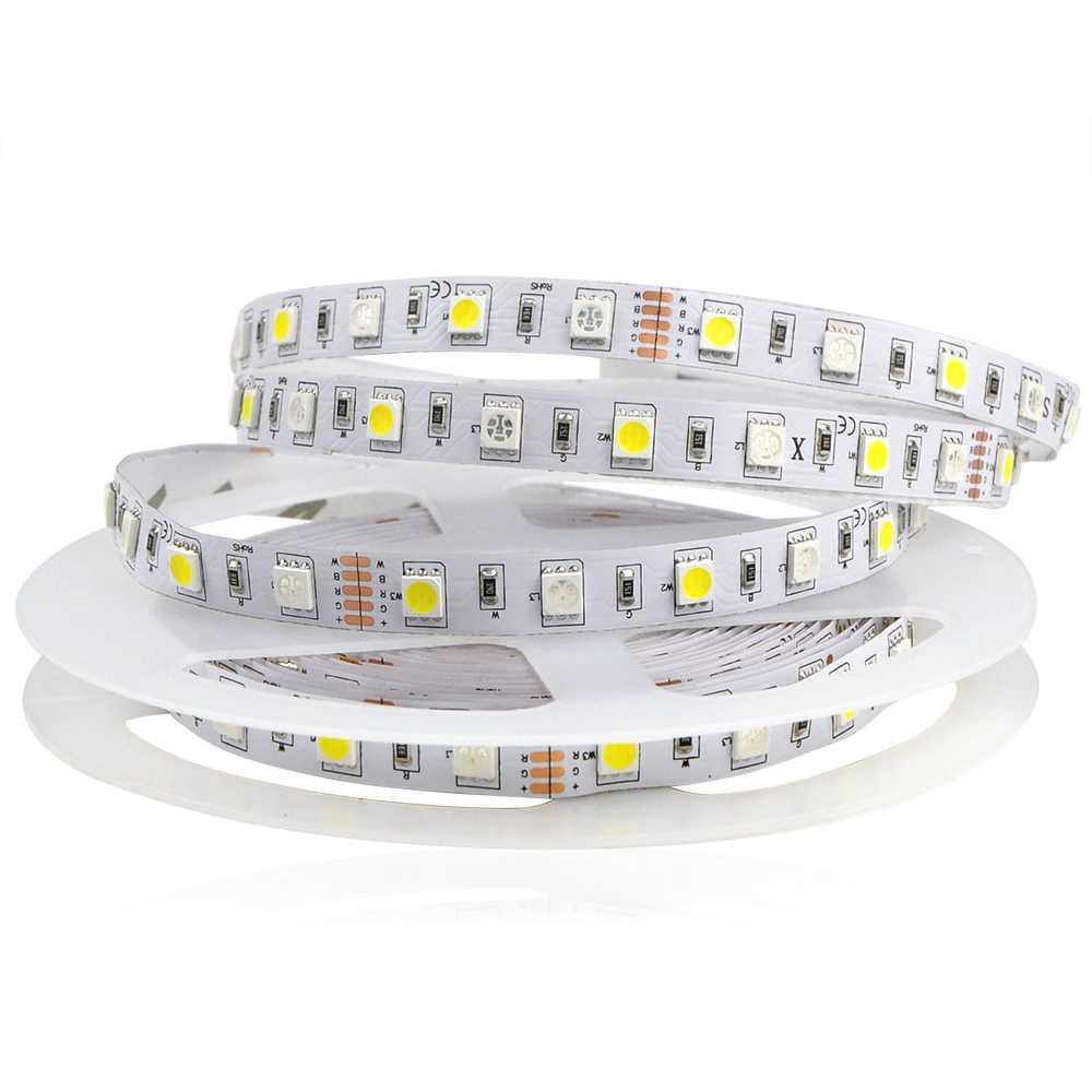 121653 5M No waterproof 5050 SMD LED Strip light DC12V 60 LED M RGB White RGB Warm White Flexible lamp Tape Ribbon For Indoor Decor 1 1