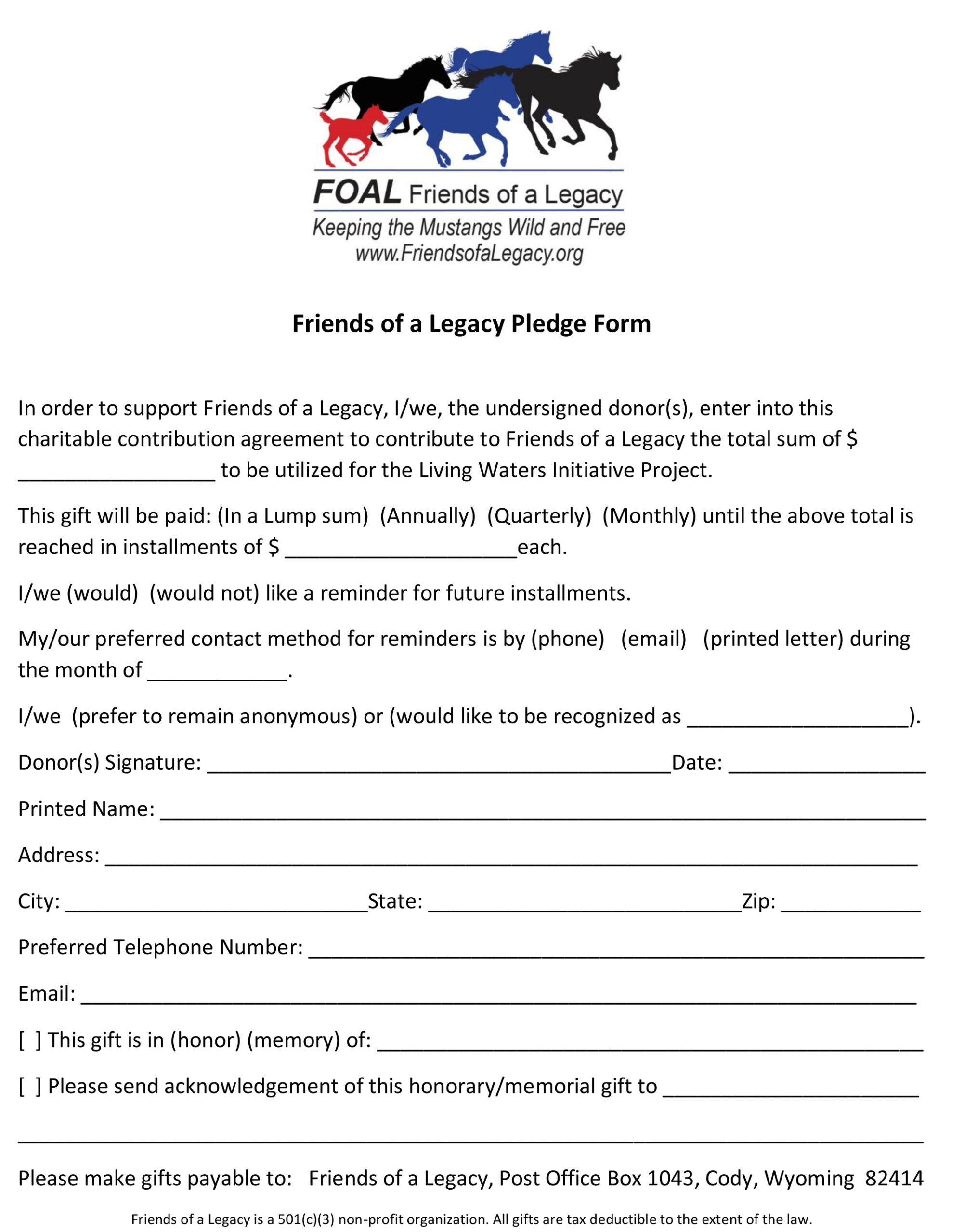 Friends of a Legacy Pledge Form