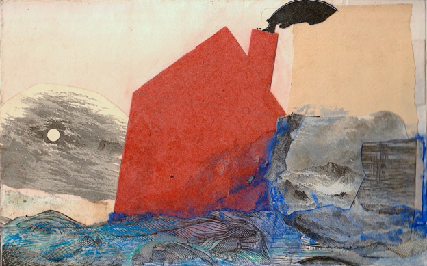 Multimedia art depicts a home, in red, adrift over the water.