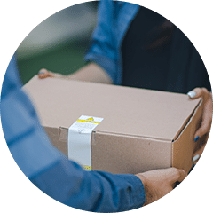 Box delivered in a circle