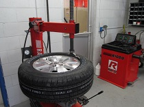 a tire being repaired