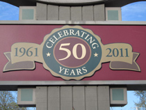 celebrating 50 years on our sign