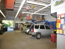 cars in the service bays