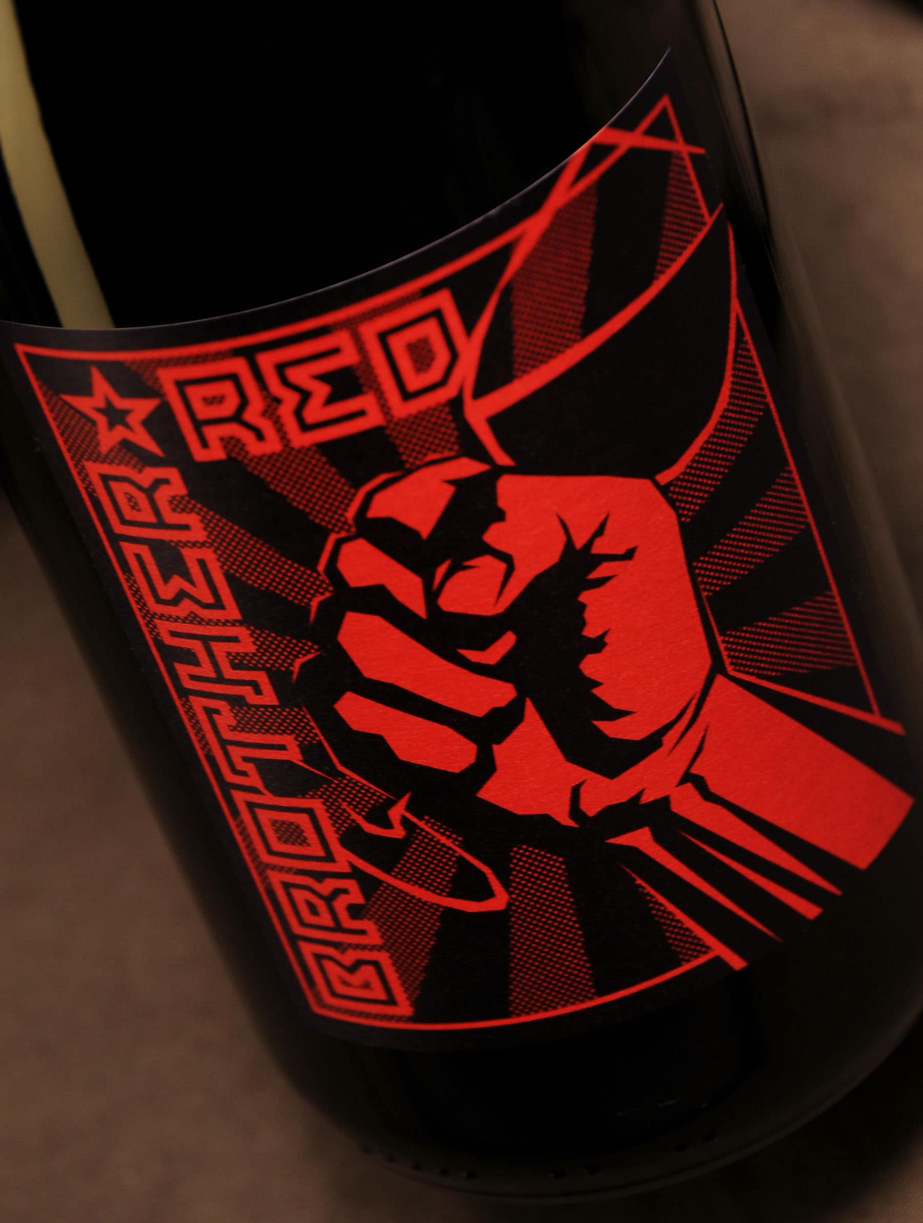 Brother Red bottle label