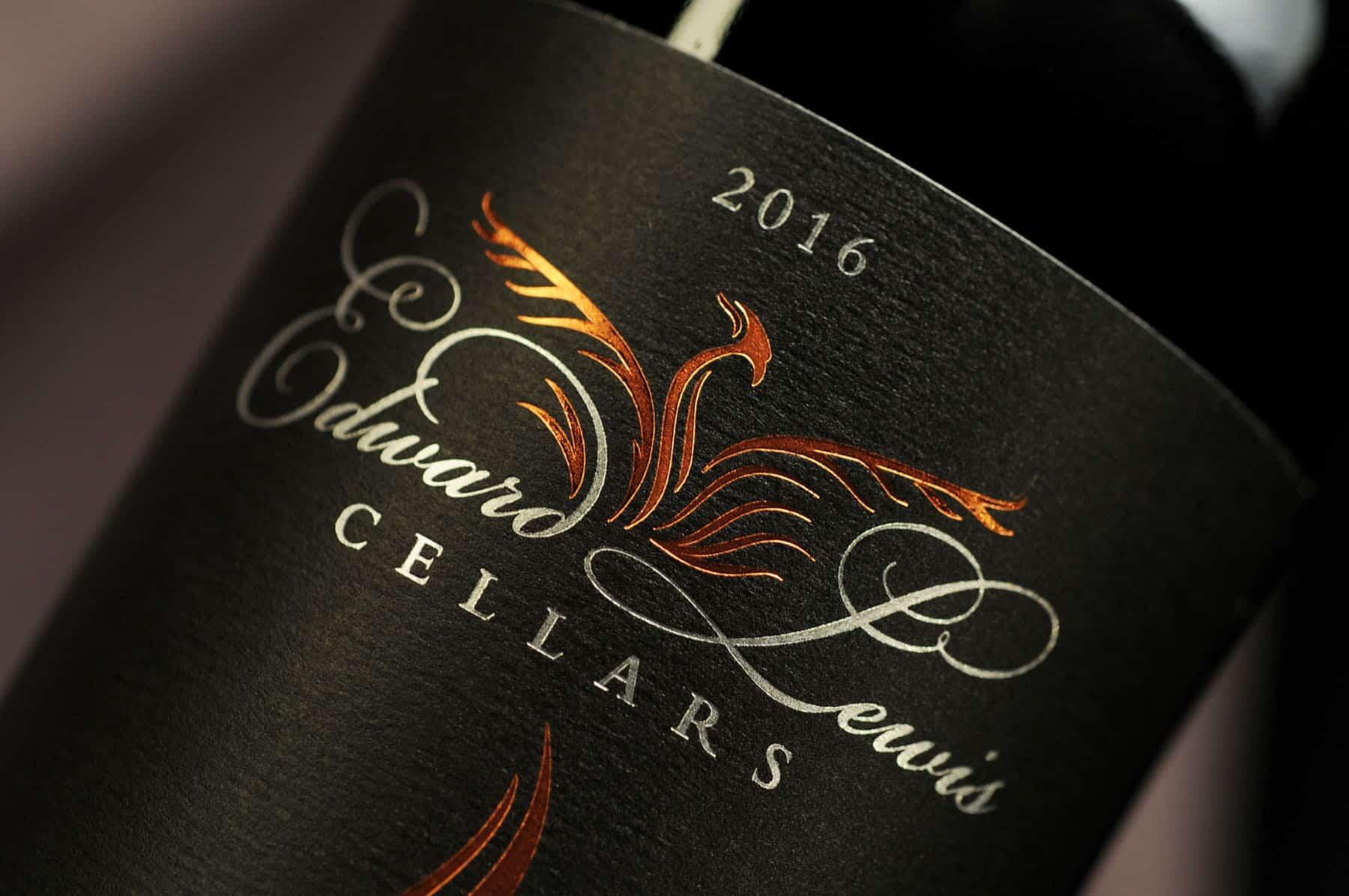 Edward Lewis logo on bottle closeup
