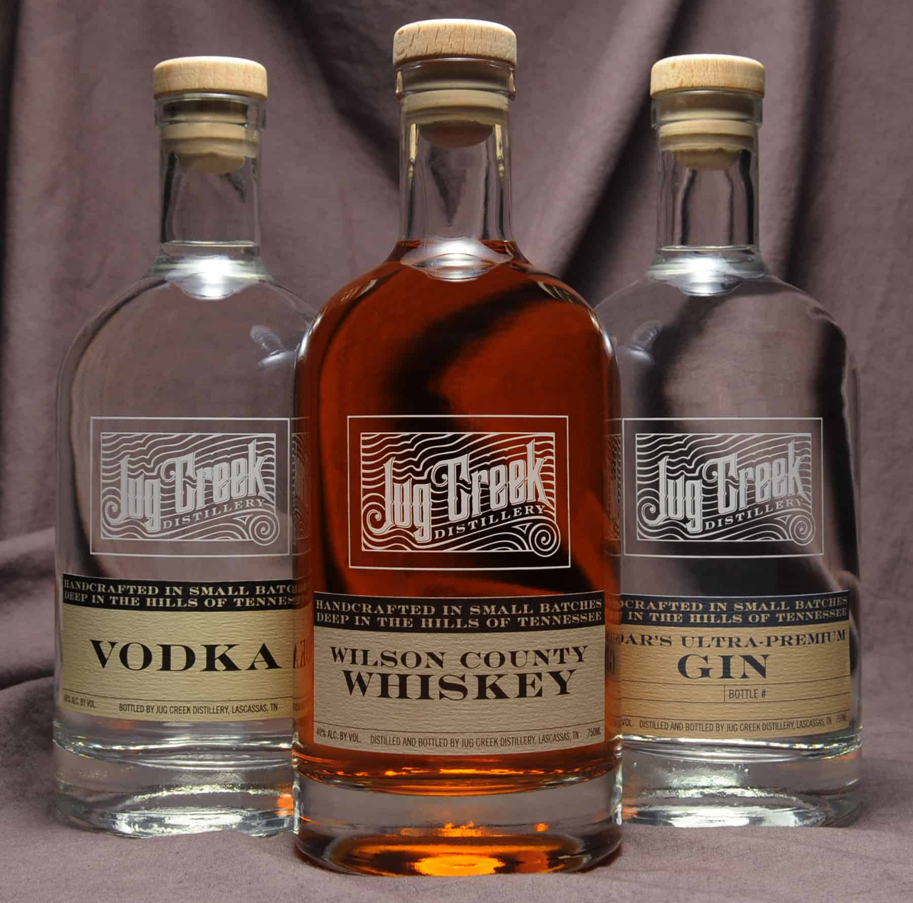 Jug Creek Vodka, Whiskey and Gin bottles