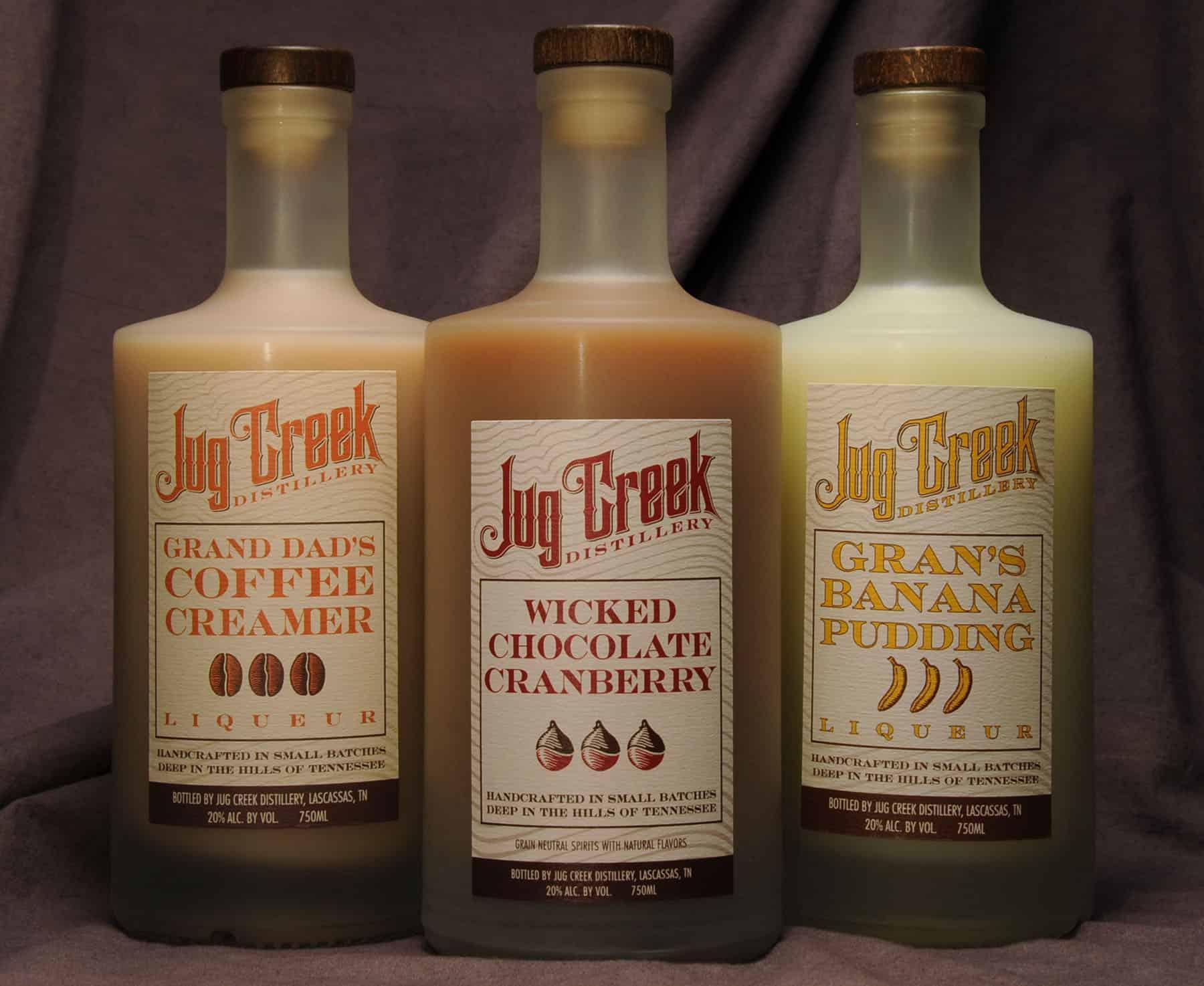 Jug Creek liqueur bottles