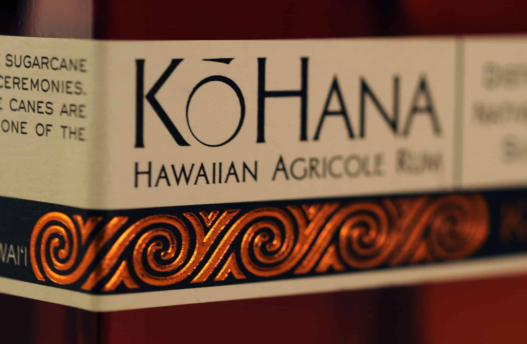 Kō Hana Hawaiian Agricole Rum label close up