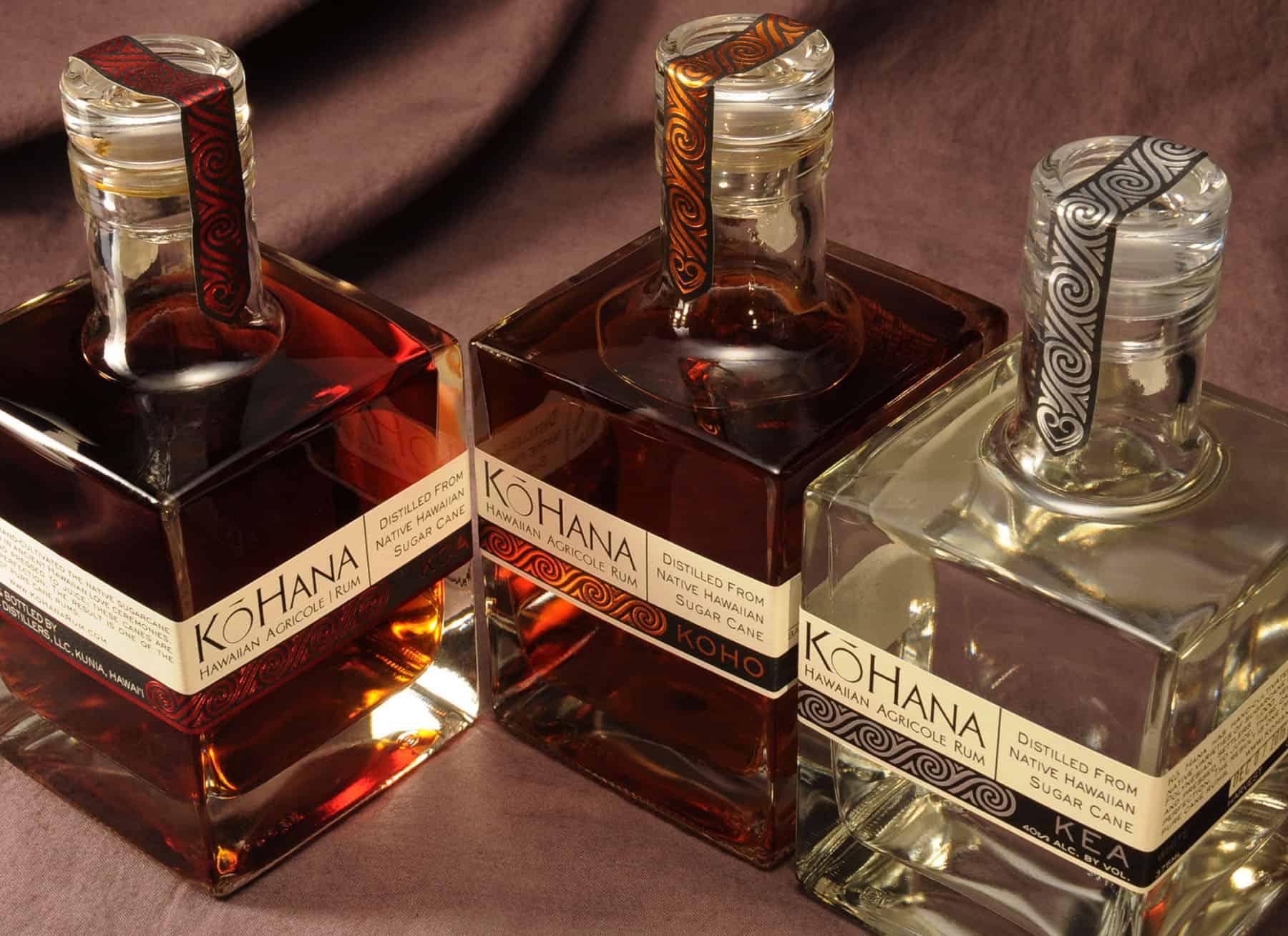 Kō Hana Hawaiian Agricole Rum group of three bottles