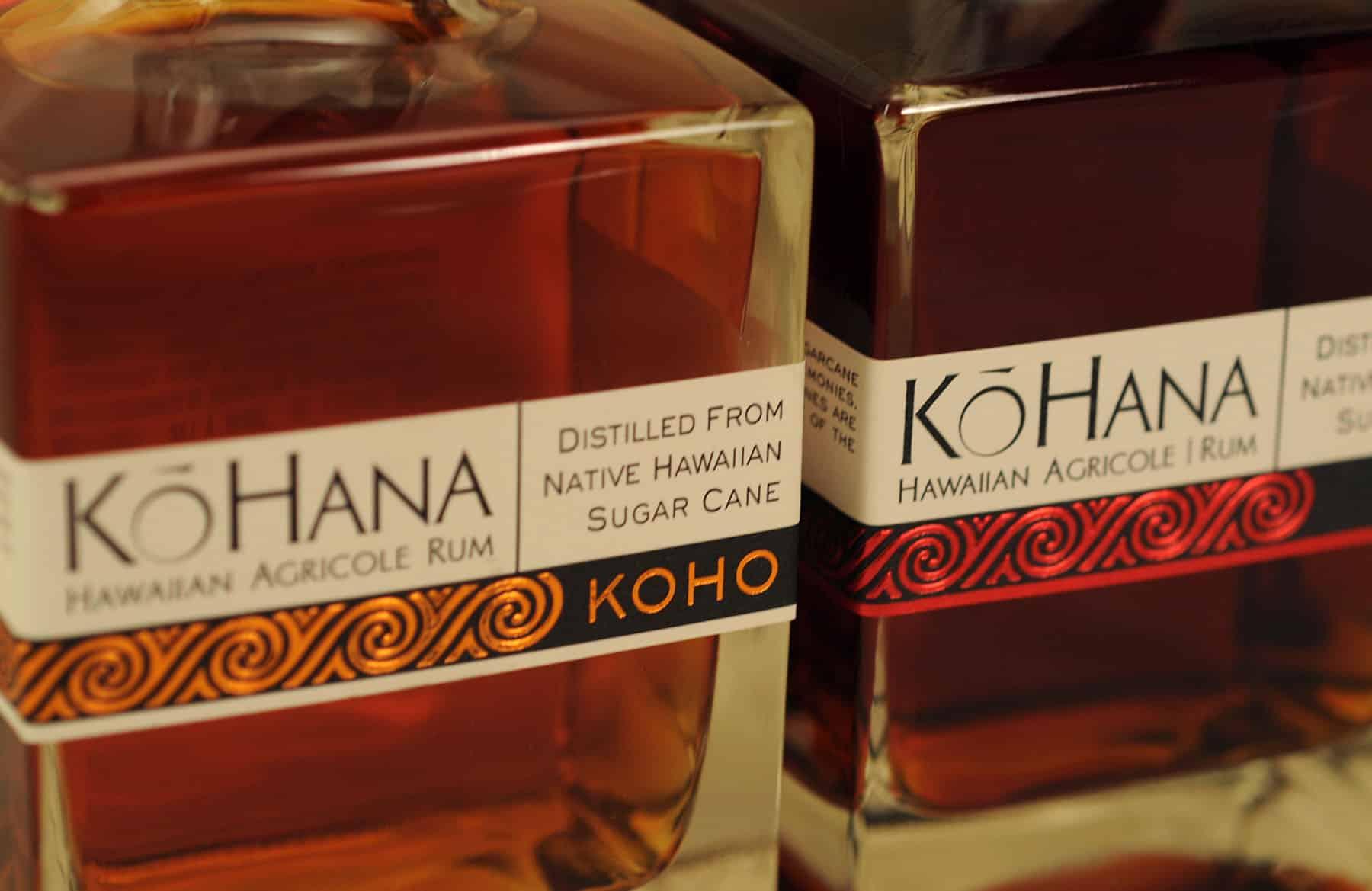 Kō Hana Hawaiian Agricole Rum bottles