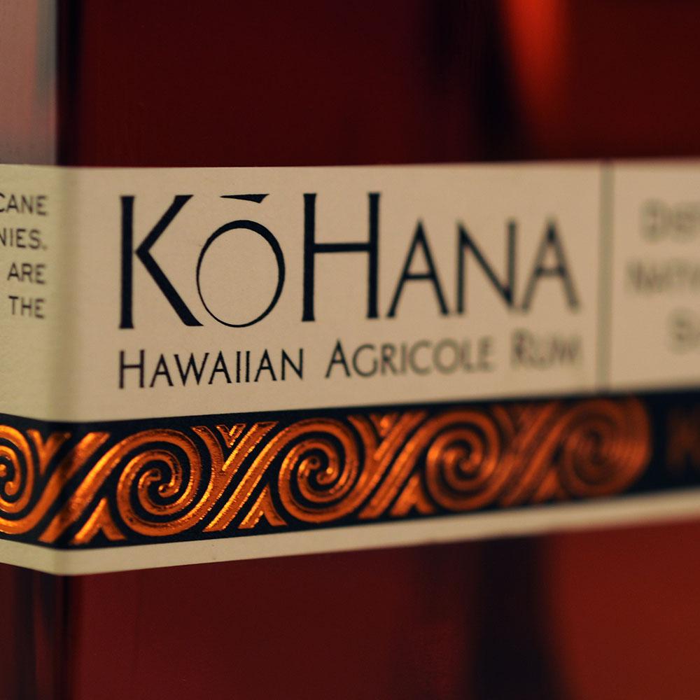 Kō Hana Hawaiian Agricole Rum label