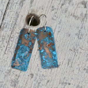 blue patina copper rectangle earrings long