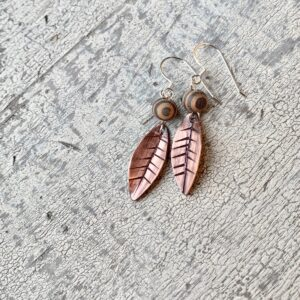 Contemporary Leaf Earrings with Striped Wood Bead 1