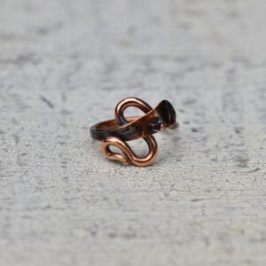 copper ring zig zag interlock