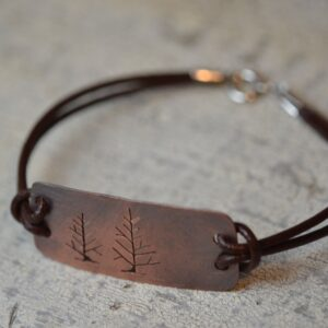 copper tree silhouette bracelet